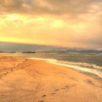 皆生温泉の砂浜